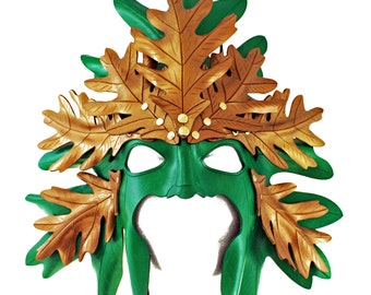 Green Man Mask, Leather Green Man, leather mask, leaf mask, masquerade mask, green mask, fairy mask, pagan mask, tree mask, nature mask