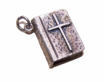 Vintage STERLING SILVER Charm - The Good Book - The Holy Bible
