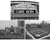 Chicago Cubs Set Of 3 Photos, The Sign, Wrigley Field, And The Scoreboard Baseball Sports Home Decor Gift