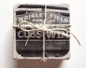 Black and White Chicago Cubs Photo Coasters Set of 4 Home Decor Housewarming Gift Sports