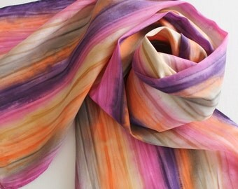 Hand Painted Silk Scarf - Handpainted Scarves Orange Gray Grey Purple Eggplant Pink Rose Fuchsia Tan Cream Stripes