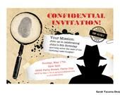 Secret Agent Spy Birthday Party Invitation. Customized. Printable Invite. Detective Top Secret FBI Mystery Party. Spy Party.
