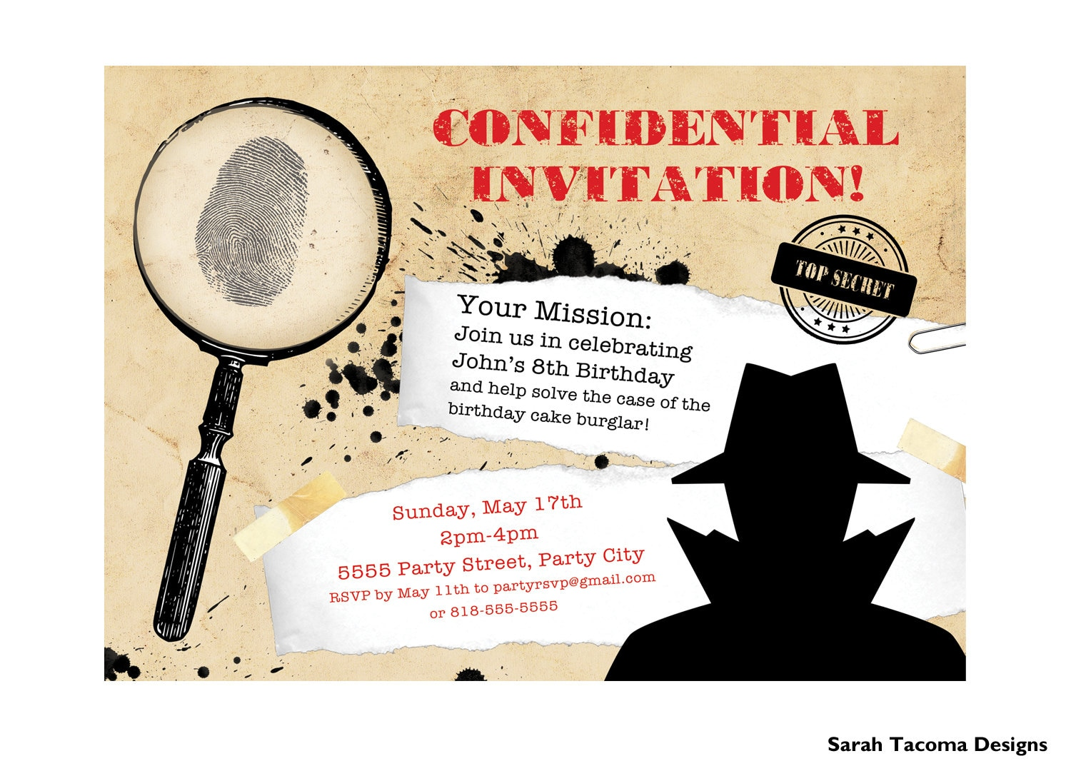 It's just an image of Crafty Spy Party Invitations Printable Free