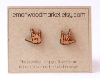 ASL I love you earrings - alder laser cut wood earrings