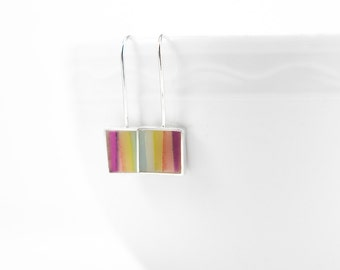 Hey Hey Earrings multi-colored stripes resin and sterling silver earring- colorful summer bright