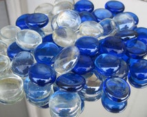 Gorgeous Blue and Clear Metalic Shimmer Mix Glass Gems Blue & Clear Pearlescent Mosaic Glass Gems Blue and Clear Iridized Glass Gems 50/Set