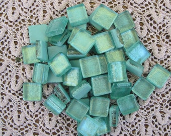 Pretty Metallic Crystal Glass Mosaic Glass Crystal Tiles Seafoam Green Pearl Glass Tiles 3/8 Inch Square Mosaic Tile Glass Set of 50