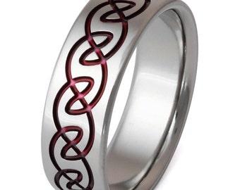 Irish Celtic Titanium Wedding Band - Red Ring - Infinity Design - ck13
