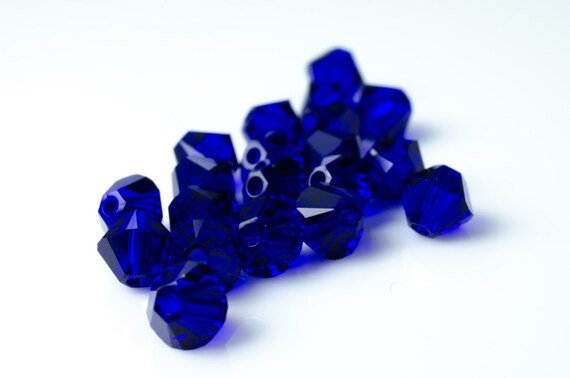 Cobalt Bicone Crystal Beads