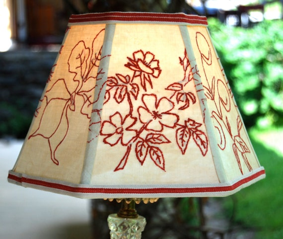Cleveland Vintage Lighting Clip On Lampshade: Lamp Shade Primitive Redwork Lampshade 5x10x7 Hex Clip