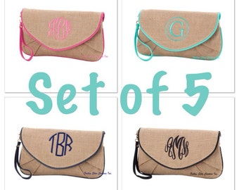 FIVE Burlap Bridesmaid wristlets , burlap clutch, bridesmaid clutch, rustic wedding, bridesmaid gift , monogrammed gifts