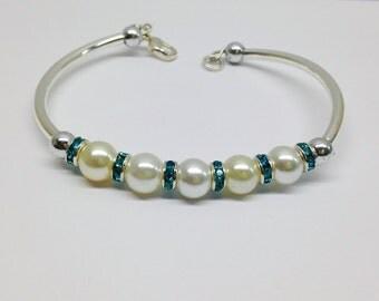 White Pearls Bangle Bracelet