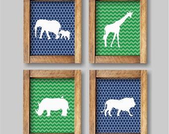 Safari Animals Nursery Wall Art