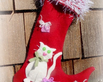 Cat and Mouse Christmas Stocking made out of Felted Wool