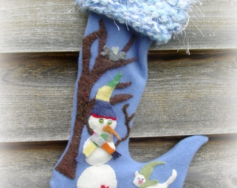 Whimsical Snowman and Kitten Christmas Stocking