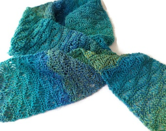 """Scarf - Ladies Hand Knit Drop Stitch Scarf in Blues and Greens - 7""""x64"""""""