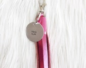 barbie metallic leather tassel keychain + personalized tag