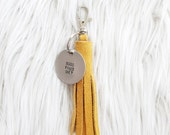 tangerine suede tassel keychain + personalized tag