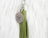 hunter green suede tassel keychain + personalized tag