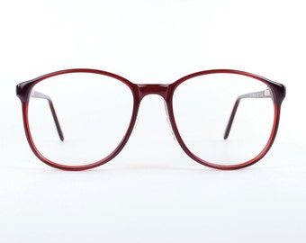 Round Oversize Horn Rim Eyeglasses Vintage 1980s Rich Burgundy Marsala Glasses 70s Bright P3 Unisex  Indie Hipster Optical Frame USA NOS