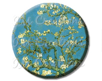 "Pocket Mirror, Magnet or Pinback Button - Wedding Favors, Party themes - 2.25""- Van Gogh's Almond Blossom MR408"