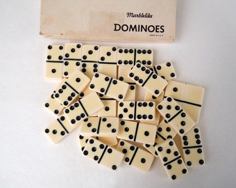 Complete Set 28 Vintage Cream and Black Dominoes White Dominoes Standard Marblelike Dominoes Game Pieces