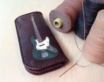 SALE15% !!!! New item!!!! Long Wallet Bass Guitar & Dark Green Color leather