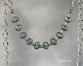 Aegean Blue Picasso Bead Necklace - Metalic Picasso Finish - Blue and Silver Necklace - Silver Plate Necklace - Handmade Necklace