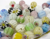50 Flower and Star Millefiori Round Beads 6mm (B)