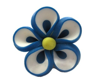 Turquoise Polymer Clay Flowers 20mm Beads Set of 4 (H09)