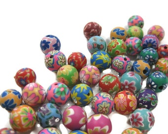 10mm Round Polymer Clay Beads Assorted Variety 50 pieces (C)