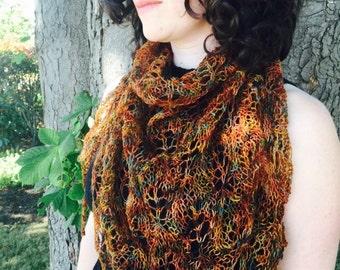 autumn wrap, russet orange, golden ochre, dark green