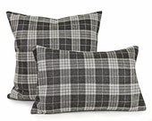 Grey Plaid Pillow Cover, Wool Pillow, Wool Plaid Cushion, Plaid Throw Pillows, Ski Lodge Pillows, Fall Winter Home Decor, 20x20, 50x50 cm