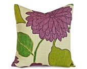 Green Purple Throw Pillows, Large Flowers, Modern Designer Pillow, Floral Cushion Covers, 18x18, 45x45 cm