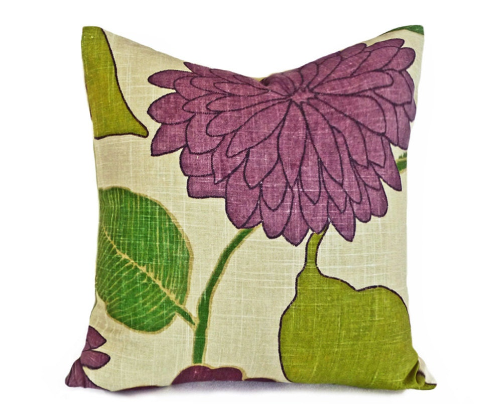Large Flower Throw Pillow : Green Purple Throw Pillows Large Flowers Modern Designer