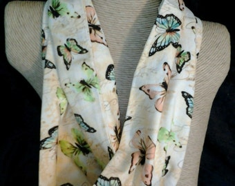Butterflies Infinity Scarf Handmade Cotton Circle Scarf - Free Shipping