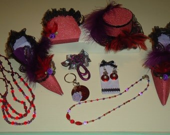 Handmade Red Hat Gift Set Necklace Earrings Broach Hat Shoes Purse