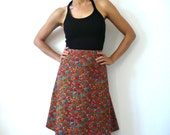French Vintage Floral Print 60s A line Skirt