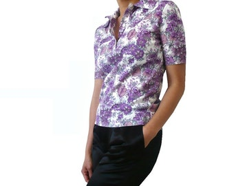 French Vintage Purple Floral Print Polo / Blouse