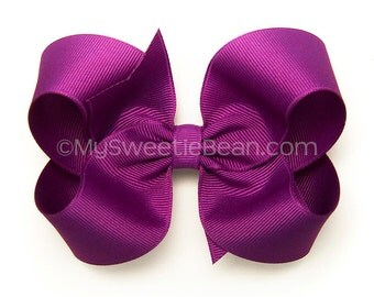 Neon Purple Hair Bow, 4 inch Basic Bow, Royal Orchid Boutique Bow, Classic Bow Baby Toddler Girls, Electric Violet Hair Bow for Girls