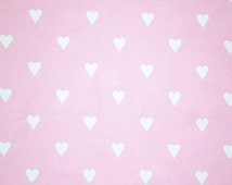 Pink Furnishing Fabric, Love Hearts by Clarke and Clarke, Flutterby Collection, Girl's Cotton Home Decor Fabric for curtains & accessories
