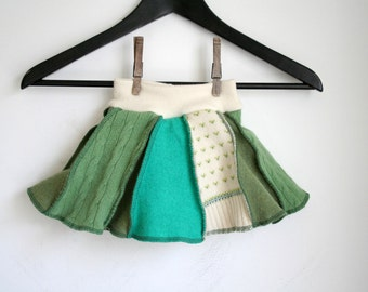 SMALL skirtie - wool skirt and cloth diaper cover - patchwork crazy skirty - wool soaker and skirt - baby skirt - green