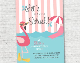 Flamingo Pool Party Invitation - Instant Download Editable
