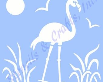 """10 1/4"""" FLAMINGO STENCIL bird template templates stencils background pattern craft pochoir ocean sun sea new scrapbook paint art beach"""