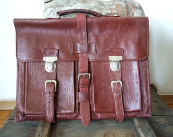 Vintage leather briefcase burgundy brown, leather satchel vintage, back to school laptop briefcase, doctor's bag, vintage documents carrier