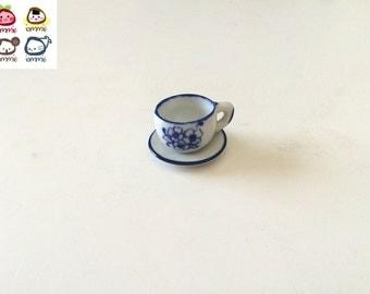 Teacup, tea cup, Miniature Ceramic Coffee Cup, saucer, miniature cup, ceramic cup, miniature, white, blue, clay, mini, little, decoration