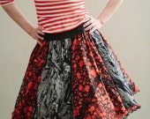 Black and blood red Full circle Zombie Walking dead skirt with lace and bows