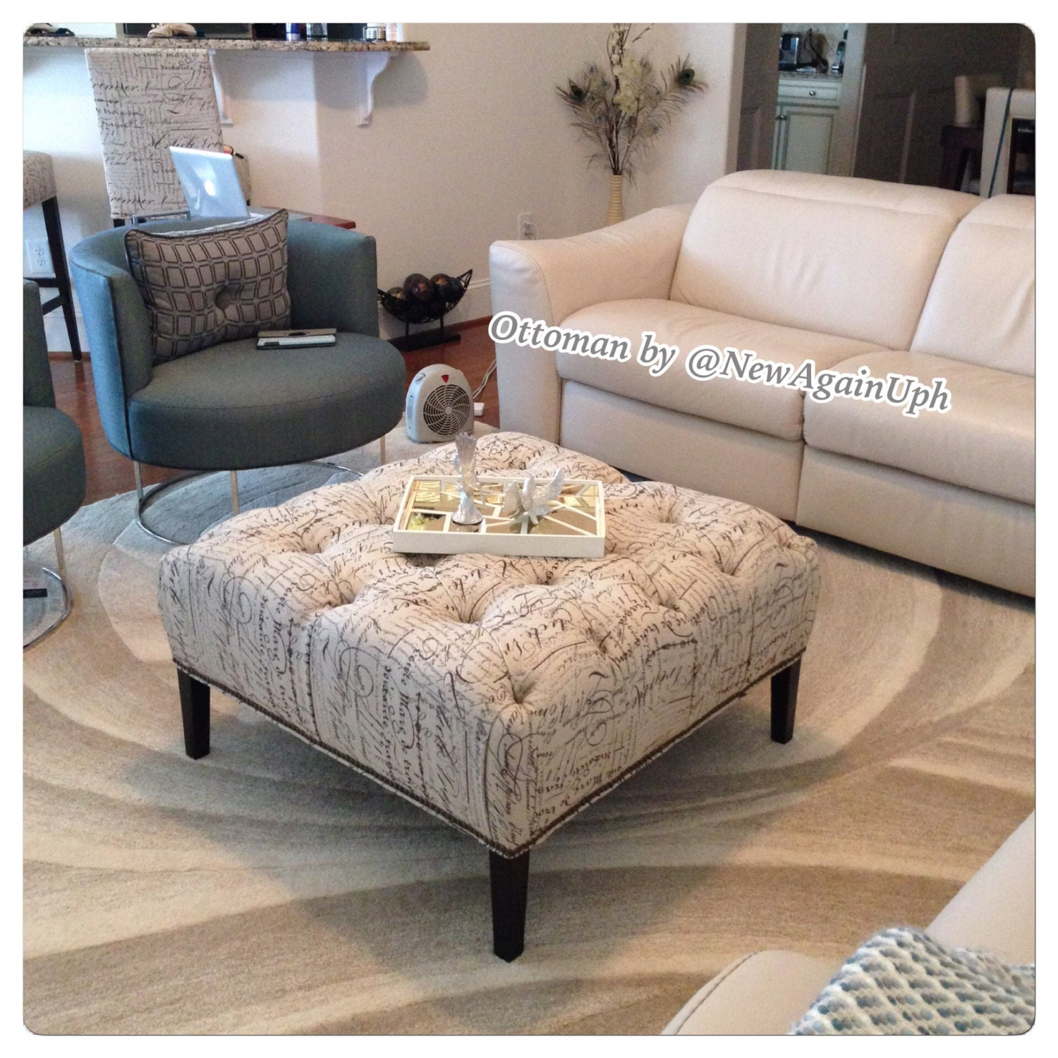 Tufted Ottoman With Tapered Legs Nailheads And Rhinestones Square Ottoman With Nails Tufted Ottoman Tapered Legs