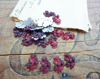 Antique Glass Rhinestone Small Flower Rhinestone Ruby (4)
