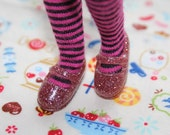 Licca Blythe Dusty Pink glittery Flat Mary Jane Doll shoes